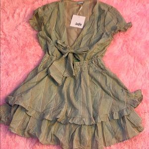 Olive dress with self tie front
